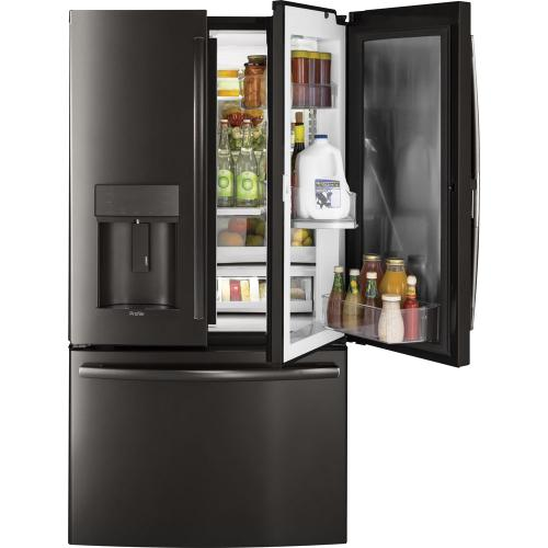 GE Profile 22.2 Cu. Ft. Energy Star Counter-Depth French Door Refrigerator Black Stainless Steel - PYD22KBLTS