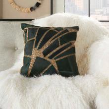 "Natural Leather Hide Pn927 Green/gold 18"" X 18"" Throw Pillow"