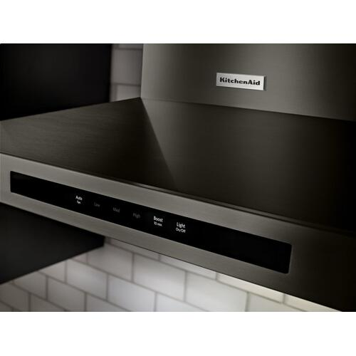 """KitchenAid - 30"""" Wall-Mount, 3-Speed Canopy Hood - Black Stainless"""