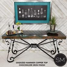 """High End Western Console Table - Entryway Table Hammered Copper top. - 59"""" X 19"""" / Natural Copper / Dark Rust Brown"""