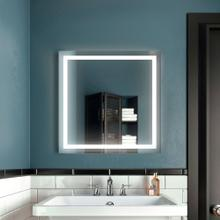 Bathroom mirror with light frame