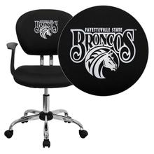 Fayetteville State University Broncos Embroidered Black Mesh Task Chair with Arms and Chrome Base