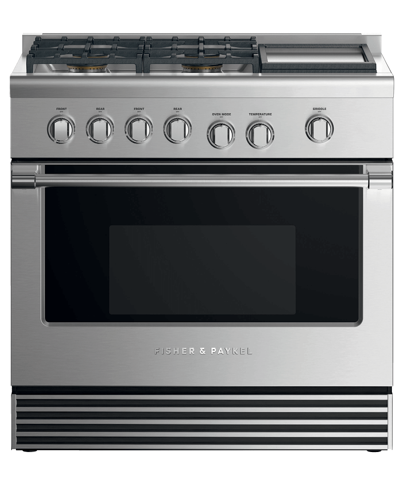 """Dual Fuel Range, 36"""", 4 Burners with Griddle"""
