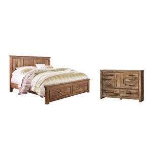 King Panel Bed With 2 Storage Drawers With Dresser
