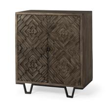 Argyle I 36L x 16W Dark Brown And Metal 2 Door Accent Cabinet