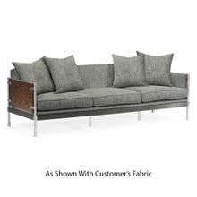 Campaign Style Dark Santos Rosewood Sofa, Upholstered in COM