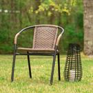 2 Pack Medium Brown Rattan Indoor-Outdoor Restaurant Stack Chair Product Image