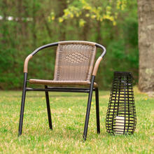 2 Pack Medium Brown Rattan Indoor-Outdoor Restaurant Stack Chair