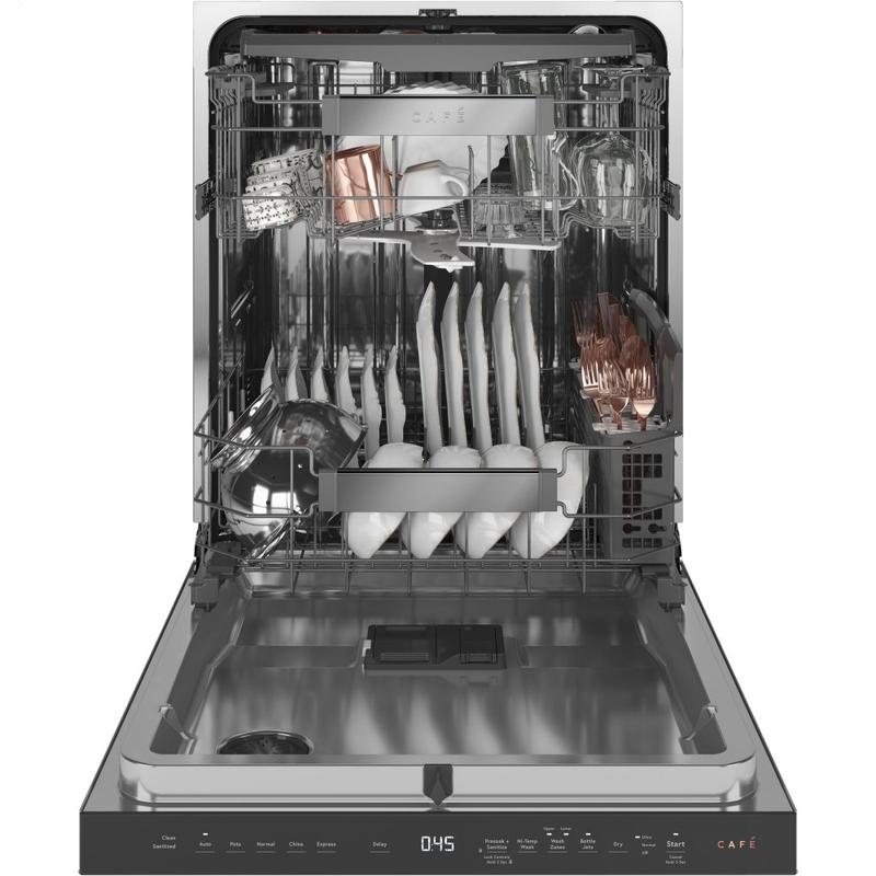 Café Stainless Interior Built-In Dishwasher with Hidden Controls in Platinum Glass