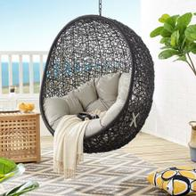 Encase Swing Outdoor Patio Lounge Chair Without Stand in Black Beige