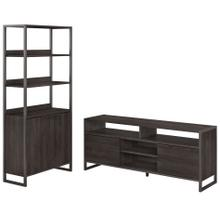Atria Home TV Stand and 5 Shelf Bookcase with Doors - Charcoal Gray