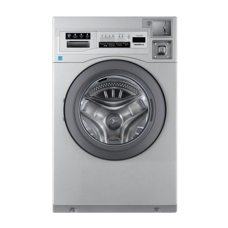 """Crossover True Commercial Laundry - 3.5 CF Heavy Duty Front Load Washer, Coin Option Included/Card Ready, Silver, 27"""""""