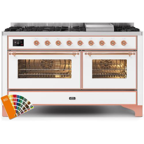 Ilve - Majestic II 60 Inch Dual Fuel Natural Gas Freestanding Range in Custom RAL Color with Copper Trim