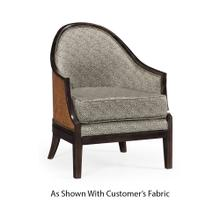Rouded Rattan Back Dining Chair, Upholstered in COM
