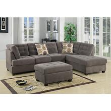 Lavanya 2pc Reversible Sectional Sofa Set, Charcoal-waffle-suede