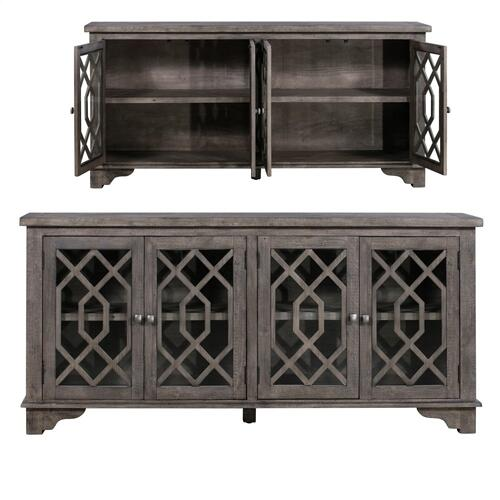 Crestview Collections - Pembroke Plantation Recycled Pine Distressed Grey 4 Door Sideboard