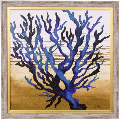 Style Craft - COASTAL BLUE I  23in w X 23in ht  Textured Framed Print  Made in USA