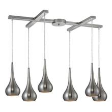 Lindsey 6-Light H-Bar Pendant Fixture in Satin Nickel with Satin Nickel Finished Glass
