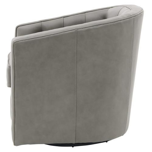 Walsh Top Grain Leather Swivel Accent Arm Chair, Garrett Gray