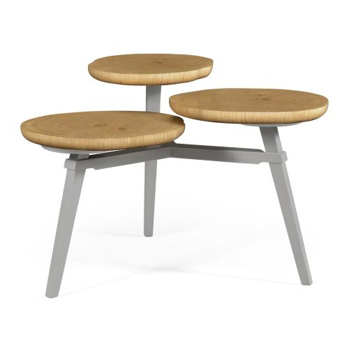 Architectural Coffee Table with Three Multi-Layered Circular Oysters