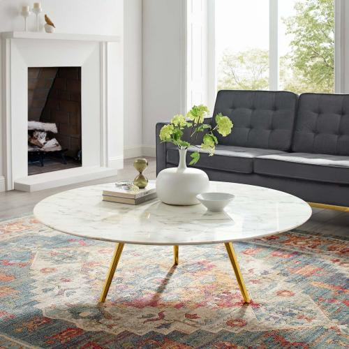 """Lippa 47"""" Round Artificial Marble Coffee Table with Tripod Base in Gold White"""