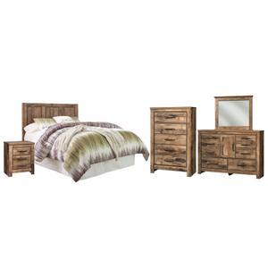 Queen/full Panel Headboard Bed With Mirrored Dresser, Chest and Nightstand