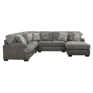4pc Lsf Loveseat-corner Chair-armelss Loveseat- Rsf Chaise W/9 Pilllows Gray#tweed Pewter