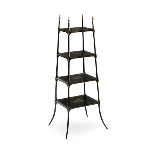 Regency style black four-tier étagère
