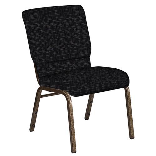 Flash Furniture - 18.5''W Church Chair in Amaze Ebony Fabric - Gold Vein Frame