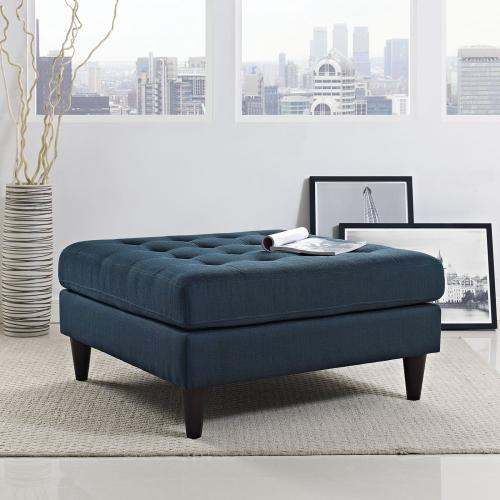 Gallery - Empress Upholstered Fabric Large Ottoman in Azure