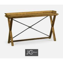 See Details - Narrow Rectangular Light Brown Chestnut Console Table
