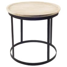 Agate I (Large) 24L x 24W Natural Round Wood Top W/Black Iron Accent Table