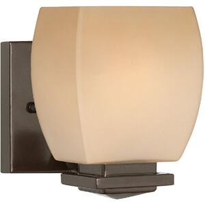 Wall Lamp, Dark Bronze/amber Glass Shade, E27 Type A 60w