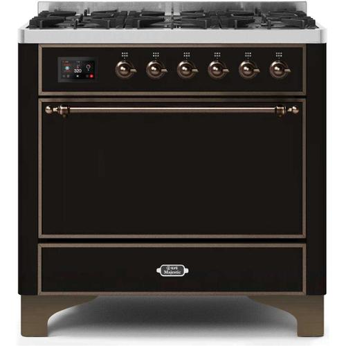 Gallery - Majestic II 36 Inch Dual Fuel Natural Gas Freestanding Range in Glossy Black with Bronze Trim