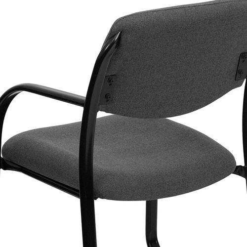 Gallery - Gray Fabric Executive Side Reception Chair with Sled Base