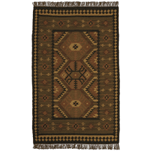 Olive Green Kilim Pattern 5' x 8' Rug