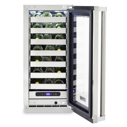 """15""""W. Stainless Steel Interior Undercounter Wine Cellar ™ VUWC Viking Professional Product Line"""