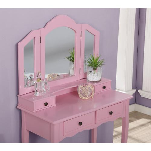 Round Hill Furniture - Sanlo Pink Wooden Vanity, Make Up Table and Stool Set