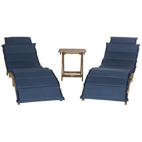 Pacifica 3 Piece Lounge Set - Natural / Navy