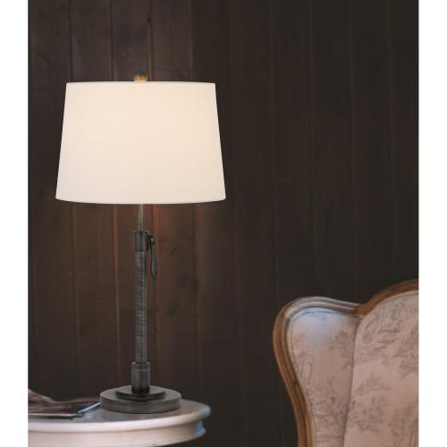 150W 3 way Riverwood adjustable metal table lamp with hardback taper fabric drum shade