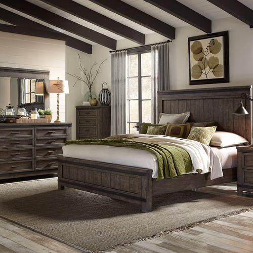 Liberty Furniture Industries - King California Panel Bed, Dresser & Mirror, Chest