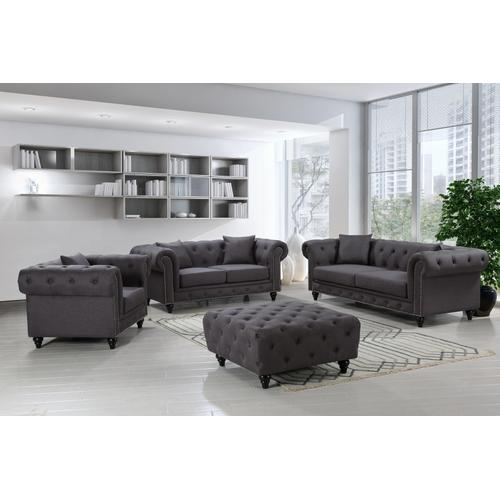 """Chesterfield Linen Sofa - 90"""" W x 33"""" D x 30.5"""" H"""