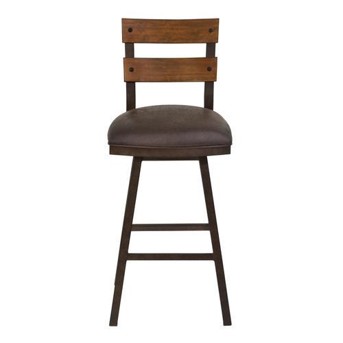 "Armen Living Saugus 30"" Bar Height Metal Swivel Barstool in Bandero Espresso Fabric and Auburn Bay Finish with Walnut Wood Back"