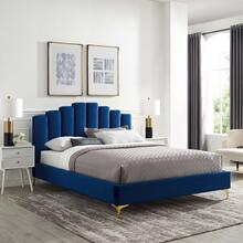 Olivia Queen Performance Velvet Platform Bed in Navy