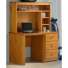 Pecan Desk With Hutch