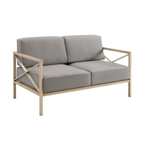 Gray X Design Metal Loveseat (Component 1 of 3)