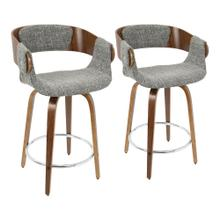 Elisa Counter Stool - Set Of 2 - Walnut Wood, Grey Noise Fabric, Chrome