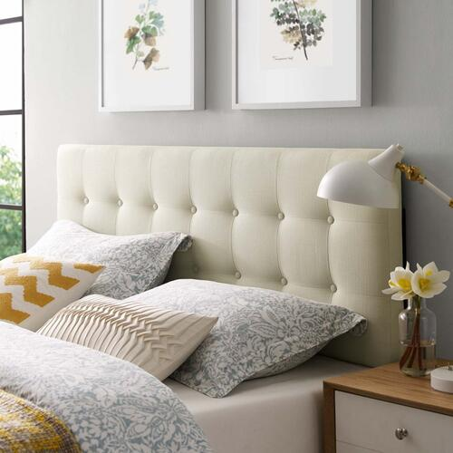 Emily King Upholstered Fabric Headboard in Ivory