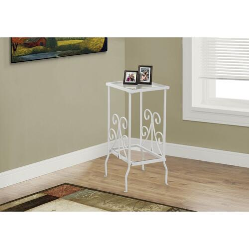 """Gallery - ACCENT TABLE - 30""""H / WHITE METAL WITH TEMPERED GLASS"""