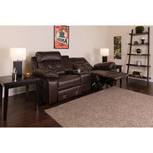 See Details - Reel Comfort Series 2-Seat Reclining Brown LeatherSoft Theater Seating Unit with Straight Cup Holders